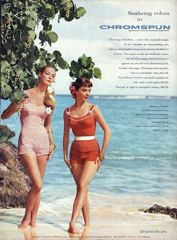 Jean Patchett & Claire Griswold for Chromspun by Eastman Color-locked Acetate Fiber Caltex of California Swinsuits 1956 Photography Larry Guetersloh