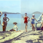 """Kodak Eastman Chemical Co. Chromspun Fibers Colorama 88 1955 featured Jean Patchett, Dolores Hawkins, Ruth Neuman Derujinski, Tippi Hedren, Claire Griswold, Kathy Dennis, Jan Rylander and unidentified models wearing """"Chromspun"""" Fiber Swimsuits 5/9 - 5/30/1955 by photographer Larry Guetersloh made at Megans Bay St. Thomas (US Virgin Islands). Displayed on the Colorama 18 ft x 60 ft back light displayed in Grand Central Concourse, NYC. Eastman Chemical Co.'s Chromspun fibers were featured with New York's highest Fashion Models in this and three other Coloramas between 1954-1956, perhaps the most costly photos in the entire program. Janet Laue-Curry, manager, Consumer Fabrics, Eastman Chemical New York assisted on styling, and remembered how meticulous Larry arranged the foliage shadows. Eastman got their money's worth with additional Colorama presence in double-page fashion magazine ads, and in major store window displays. The original  two piece color negative of No. 88 Colorama that was used in Grand Central Station and for large two page ads in fashion magazines and counter displays was lost. This set of color negatives are back ups. Courtesy of George Eastman House, International Museum of Photography and Film. ©Kodak Used with permission."""